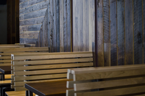 Tabletops made of reclaimed bowling alley lanes, walls made of reclaimed  wood from a Western Massachusetts paper mill at Chestnut Hill, MA Shake  Shack. - Serving Up Reclaimed Wood Susty Life