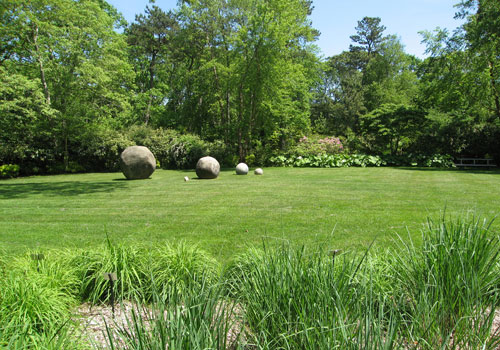 First Lawn. The art is an Untitled (Round forms), 1985 by Grace Knowlton.